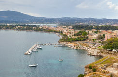 Aerial view to old city pier with yachts and boats Stock Photo