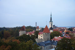 Aerial view to old Tallinn in the fall time Royalty Free Stock Image