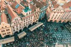 Aerial view to Old Town in Prague, Czech Republic Royalty Free Stock Photos