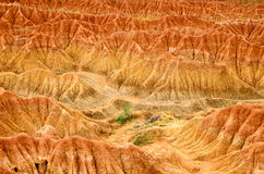 Aerial view to orange red sand formation of Tatacoa desert Royalty Free Stock Photography