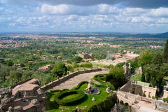 Aerial view to a park in from villa d'Este. Aerial view from villa d'Este, Italy, Tivoli Stock Photography