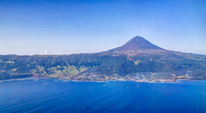 Aerial view to Pico volcano and island, Azores,Portugal Stock Images