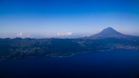 Aerial view to Pico volcano and island, Azores,Portugal Royalty Free Stock Photo