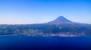 Aerial view to Pico volcano and island, Azores,Portugal Stock Photo