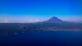 Aerial view to Pico volcano and island, Azores,Portugal. Aerial view to Pico volcano and island Azores,Portugal royalty free stock photo