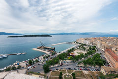 Aerial view to pier with ships from venetian new fortress, Kerkyra Royalty Free Stock Photography