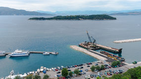 Aerial view to pier with ships from venetian new fortress, Kerkyra Stock Photography