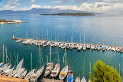 Aerial view to pier with yachts and boats Royalty Free Stock Photography
