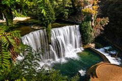 Aerial view to Pliva Waterfall in Jajce, Bosnia and Herzegovina royalty free stock photo