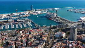 Aerial view to port of Barcelona. Columbus Monument and sea. Video footage. Aerial view to port of Barcelona Spain. Columbus Monument and sea. Video drone stock video footage
