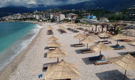 Aerial view to Potami Beach in town of Himara in Albania. Scenic view to turquoise water of Ionian Sea stock photo
