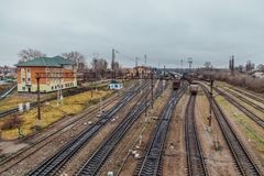 Aerial view to railway trucks. Railroad junction Stock Photo