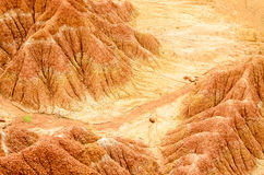 Aerial view to red sand formations of Tatacoa desert Stock Image