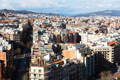 Aerial view to residential  district of Barcelona Royalty Free Stock Photography