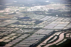 Aerial view to Rice fields, China Stock Photos