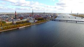 Aerial view to the Riga city and river Daugava stock video footage