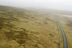 Aerial view to road and landscape. Aerial view from helicopter road in Iceland Stock Photography