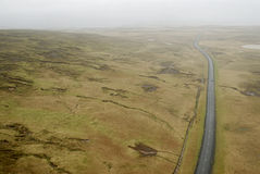 Aerial view to road and landscape. Aerial view from helicopter road in Iceland Stock Photos