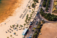 Aerial view to road near the beach Stock Photo