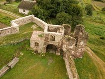 Free Aerial View To Ruined Castle In Pidzamochok, Ukraine Stock Photos - 147183283