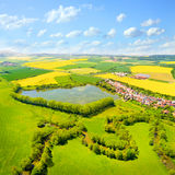 Aerial view to rural landscape. Royalty Free Stock Image