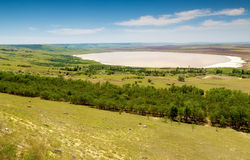 Aerial view to salt lake. Near Stavropol, Russia Stock Image