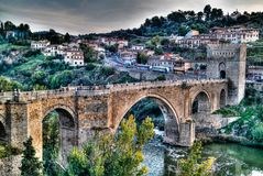 Aerial view to San Martins Bridge and Ragus river, Toledo, Spain Royalty Free Stock Images