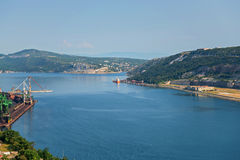 Aerial view to the seaport in Croatia Stock Image