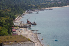 Aerial view to the shipwreck on the beach in Sukhum Stock Photos