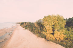 Aerial view to the Shoreline of Baltic sea beach with rocks and Royalty Free Stock Images