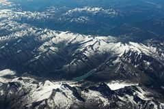 Aerial view to snowy Alps Stock Photography