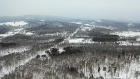 Aerial view to snowy woods forest and hills. Cloudy bad overcast foggy weather. drone flight.  stock video footage