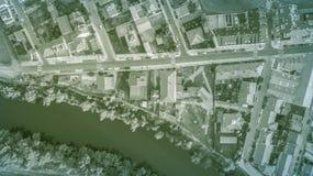 Aerial view to street and buildings. In Santovenia de pisuerga, Valladolid, Spain Stock Photos