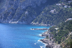 Aerial view to stunning rocky coast of Capri island Royalty Free Stock Image