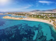 Free Aerial View To The Beach Of Glyfada With Yacht Marinas And Turquoise Sea, Greece Stock Image - 182420131