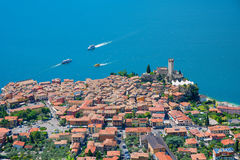 Aerial view to tourist destination malcesine and garda lake, ita Stock Photography