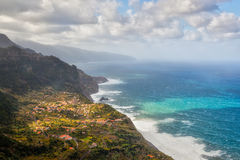 Aerial view to town at coast of Madeira, Portugal. Aerial view to town at north coast of Madeira, Portugal Stock Photography