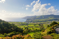Aerial view to town over ocean. Aerial view to fields over Atlantic ocean, San Miguel, Azores, Portugal Stock Photos