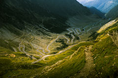 An aerial view to Transfagarasan highway in Carpathian mountains Stock Photography