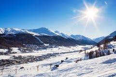 Aerial view to typical Alpine ski resort Royalty Free Stock Photos