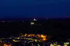 Aerial view to village Andlau in France Stock Photography