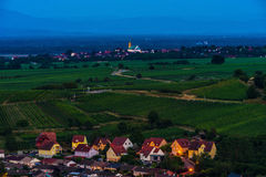 Aerial view to vineyards and church in Epfig, France Royalty Free Stock Image