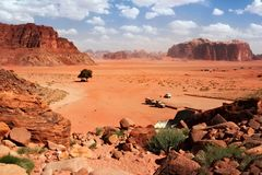 Aerial view to the Wadi Rum desert in Jordan. royalty free stock image