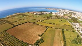 Aerial view to the Mediterranean town stock video