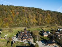 Aerial view to wooden church of Holy Prophet Elijah, Yaremche, Carpathians mountains, Ukraine Royalty Free Stock Photo