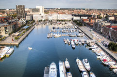 Aerial view to the yacht harbor of Antwerp Stock Image