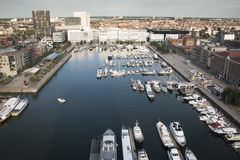 Aerial view to the yacht harbor of Antwerp Stock Photos