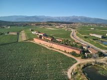 Aerial view of tobacco growing fields in La Vera, Extremadura. Spain. In the background the Sierra de Gredos stock photography