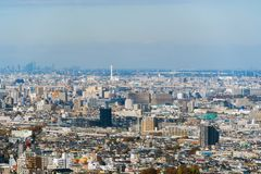 Aerial view of Tokyo apartments in cityscape background. Residential district in smart city in Asia. Buildings at noon. Japan royalty free stock photos