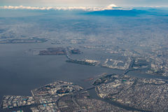 Aerial view of Tokyo Bay and Mount Fuji Stock Photography